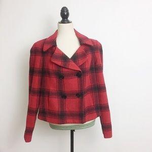 Talbots Buffalo Plaid Wool Double Breasted Jacket